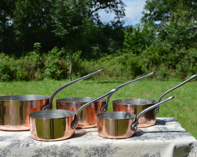 Set Five Vintage French 1.7mm Copper Graduated Pans Cast Iron Handles Copper Rivets Refurbished Good Tin Good Weight and Balance