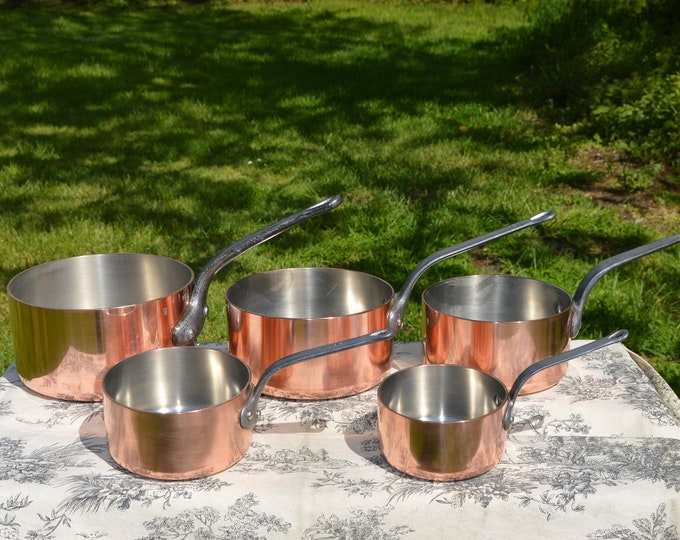 Copper Pans Vintage French 2.5-3mm Five Graduated Exceptional Commercial Quality Steel Rivets Nickel Lined Extremely Robust Collected Set