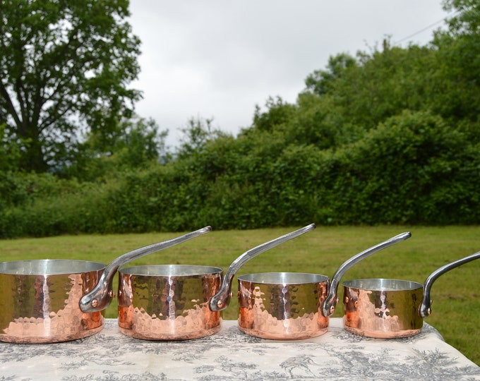 A Simon Four 2.8-3mm Vintage French Copper Pans Set Graduated French Copper Pans Villedieu Manufacture New Artisan Hand Wiped Tin