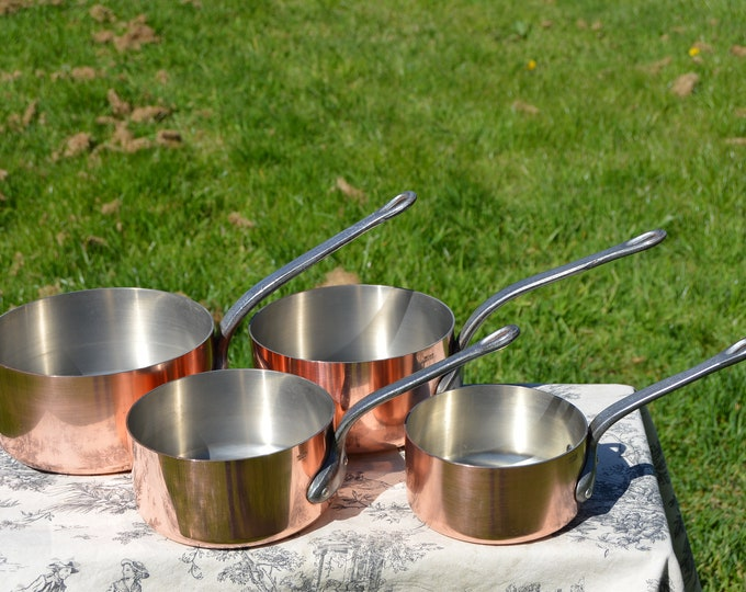 Copper Pans 4 1.9mm Vintage French Copper Set Four Graduated French Vintage Metaux Ouvres Nickel Lined Set 12cm - 18 cm