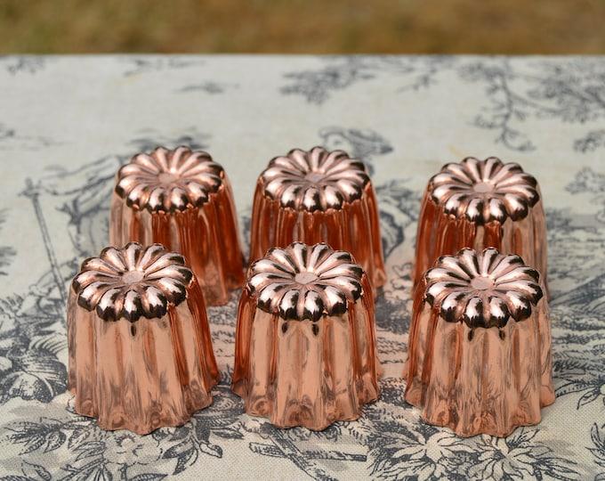 Six Caneles Small 3.5 cm 1 3/8 inch Canelés Bordeaux 6 Bordelais Cake Moulds Molds Normandy Kitchen Copper Canelés Canelles Moulds Molds