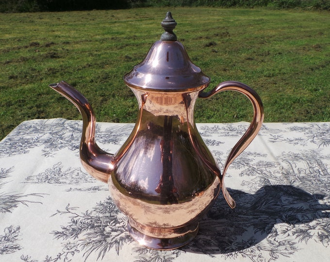 French Antique Copper Normandy Coffee Pot with Copper Handle and Wooden Finial Fittings Normandy Kitchen Copper Coffee Pot