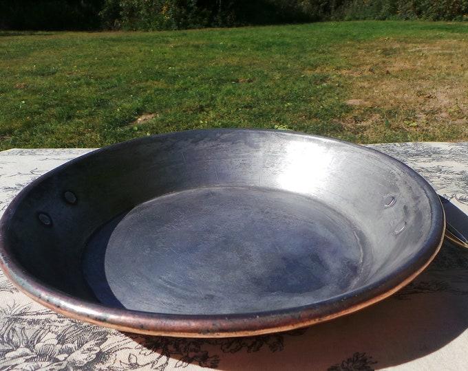 "Gratin Pan French Copper Pan Vintage Copper Dish Round 23cm 9"" 3 Copper Rivets Bronze Ring Handles Ex Caen French Restaurant Good Tin"