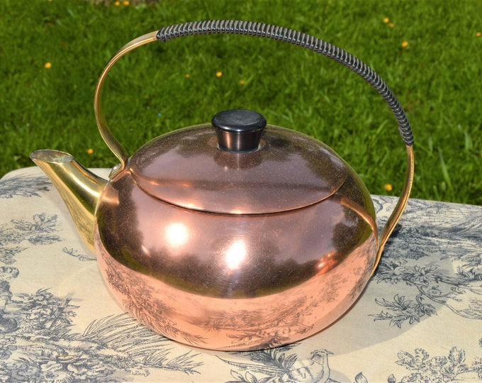 Copper Kettle French Made Bouloire Vintage Copper Pot Black Handle Brass Mounts Tinned Interior Water Tight Cuivre Pur Saint Louis