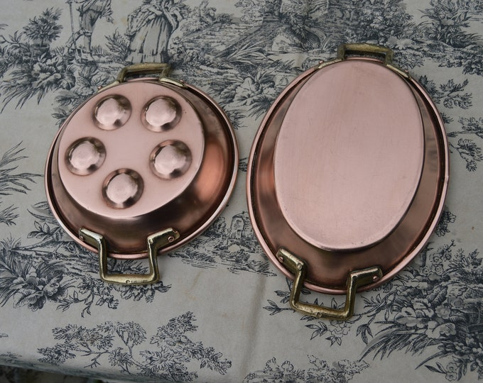 Two Copper Pans French Copper Au Gratin and Snail Pan Egg Pan Apple Vintage Copper Dishes 15.5cm and 19cm Silver Lined Pans