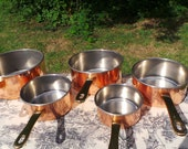Set of Five Vintage French Stainless Steel Copper Clad Professional Graduated Quality Pans Cast Brass Handles Normandy Kitchen Copper 6268