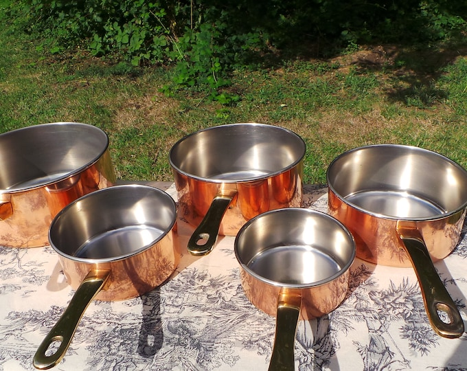 Set of Five Vintage French Stainless Steel + Copper Clad Professional Graduated Quality Pans Cast Brass Handles Normandy Kitchen Copper 6268