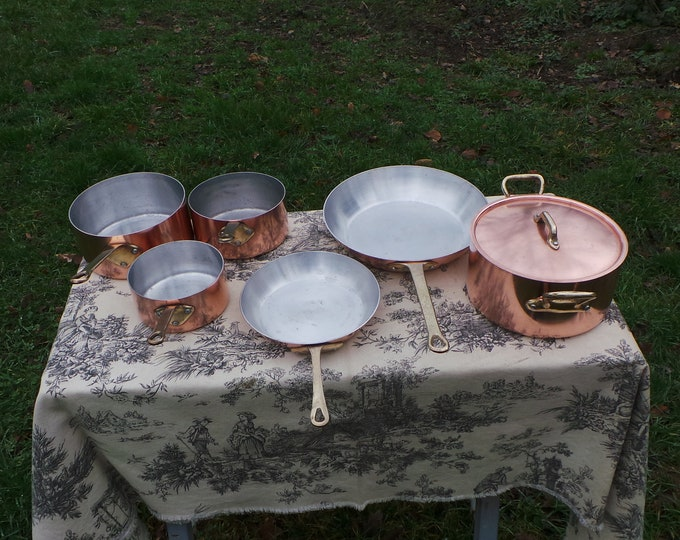 Copper Clad Cooks Set 3 Pans 1 Casserole 2 fry Pans Quality Copper and Aluminium Pans Everyday Complete Set Normandy Kitchen