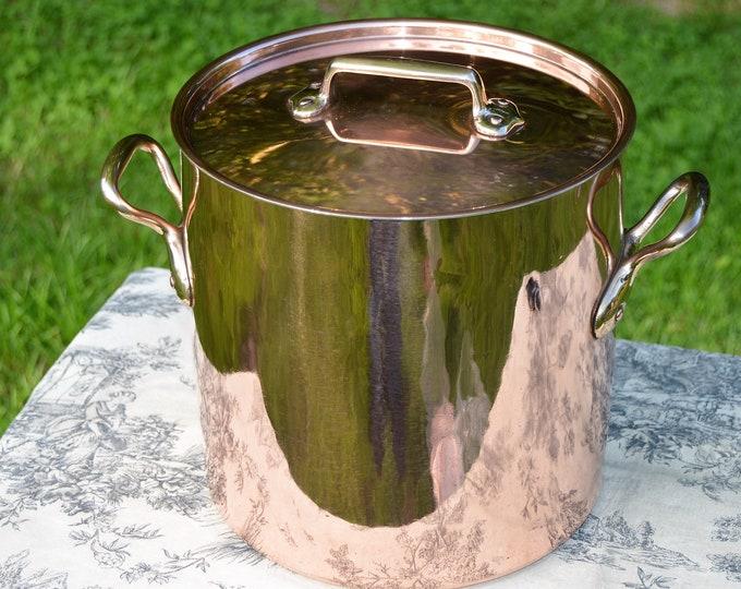 Copper Pan Faitout New Villedieu Tin French Antique Stock Pot Marmite Faitout 24cm 9 1/2 Inch Pot Quality Copper From Normandy Kitchen
