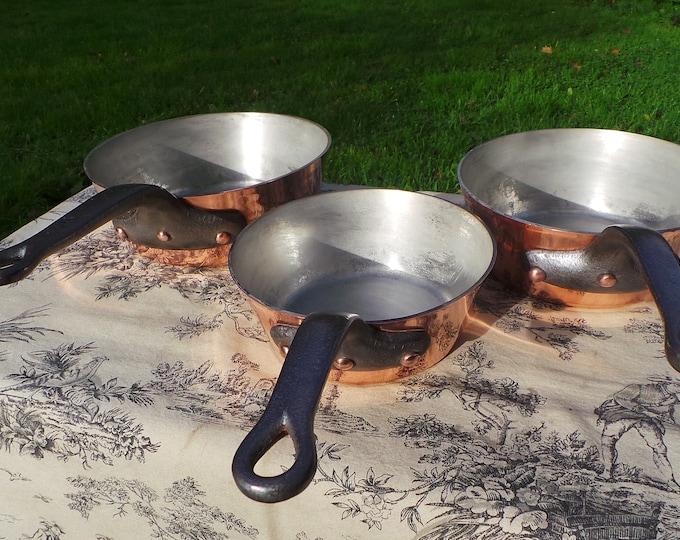 Gaillard of Paris Three Pan Set Copper Pan Stamped 20cm, 18cm and 16cm Vintage French Sauteuse Evasee Windsor Pot 2.3-3mm Cast Iron Handles