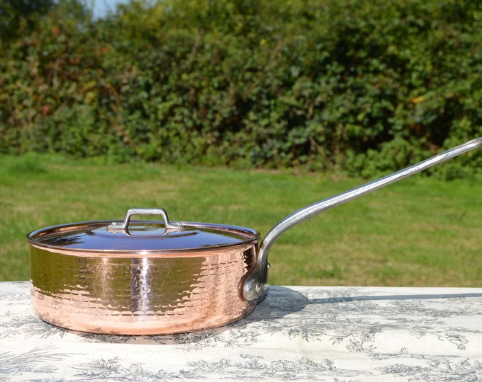 """Vel 4 Copper Saute Pan Solid 2mm Copper French Vintage Hammered Copper Pan 22cm 8 5/8"""" Cast Iron Handle Lid Copper Good Factory Tin Lining"""
