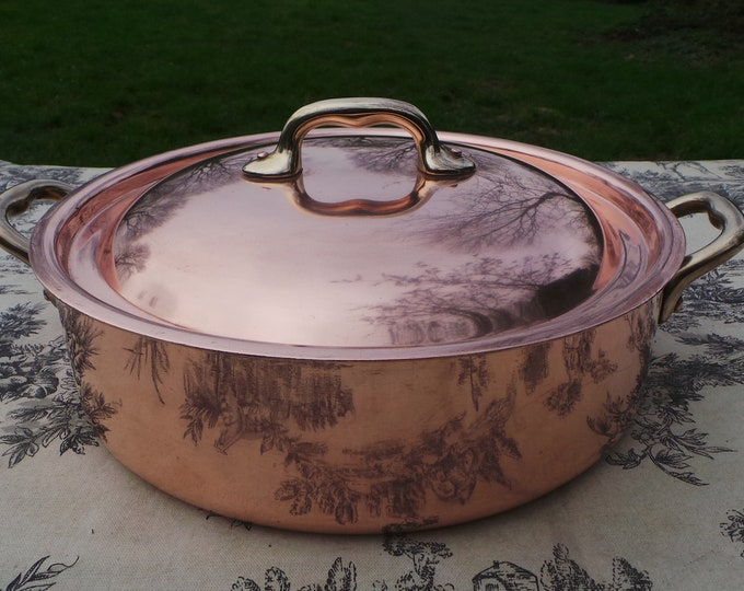 "Mauviel Unstamped Vintage French Copper Pan Copper Pot Dutch Oven Casserole Lid Faitout 1.7mm Round 24cm 9 1/2"" Stamped Made In France"