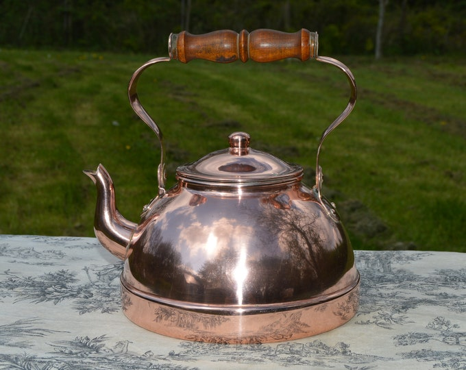 Copper Kettle or Bouloire, Portugese Vintage All Copper Mounts and Spout Wooden Handle Tinned Interior Marked Tagus Small Side Dent