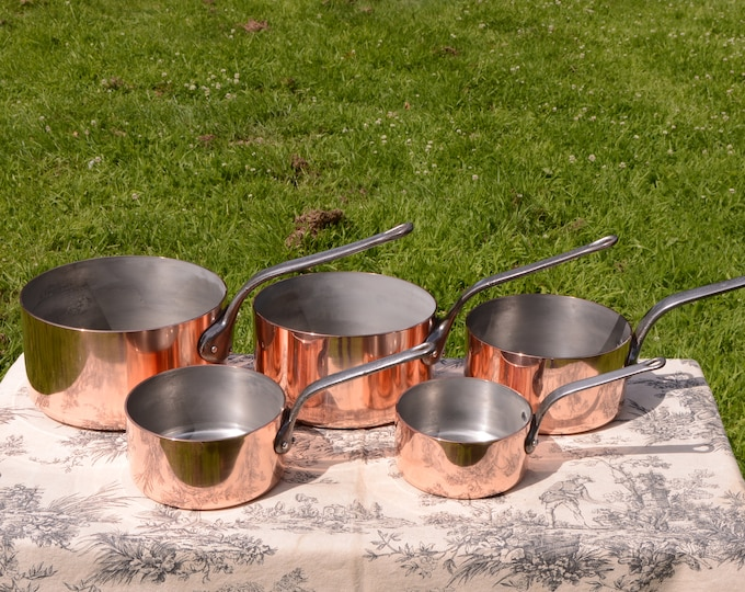 Copper Pans 5 2-2.2mm Made in France Vintage French Copper Set Five Graduated Vintage Fabulous French Manufacture 12cm-20 cm