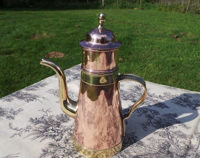 Coffee Perculator H Pommier Bruxelles Belgian Vintage Copper Cafetiere Pot Solid Copper and Brass Fittings Tin Lined Well Used Small Dents
