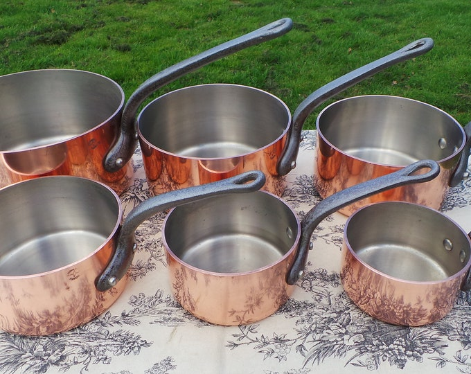 Chomette Favor 2.85-3mm Nickel Lined Set of Copper Pans 13.3 Kilos 29 lbs 9 oz Set of Six 12cm - 24cm Chef's Set Massive Professional Pots