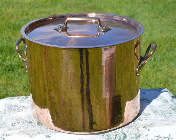 Copper Faitout + Lid MASSIVE 2mm+ 38cm 12.2k 26lbs Antique Copper Stock Pot Marmite Bouillon Faitout BIG Hammered New Atelier du Cuivre Tin