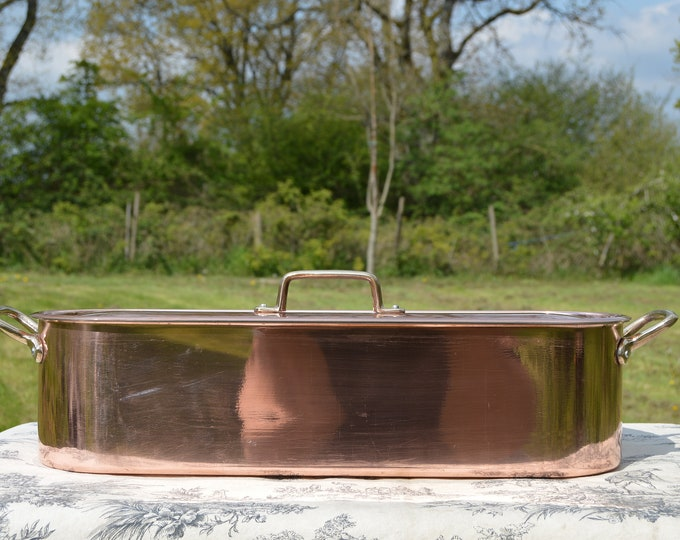 Vintage French Copper Clad and Aluminium Tournus Bronze Handles Fish Kettle Poacher Insert Tray Bronze and Copper Clad Pan Normandy Kitchen