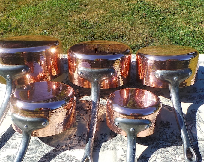 Vintage French Copper Pans Hammered Good Tin Refurbished 1mm Set Five Graduated French Copper Pans Real Quality Bodies Exceptional Condition