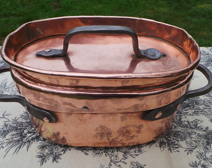French Antique Copper Daubiere Stock Boiling Pot Very Old Very Loved Copper Pots and Pans Real Statement Piece Braising Casserole Pot