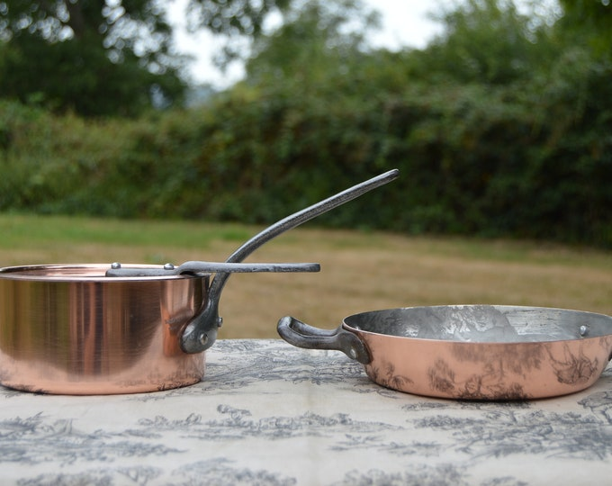 Tournus Pan Made in France with Lid Vintage French Copper Pan and Lid and Gratin Pan Steel Rivets Iron Handles