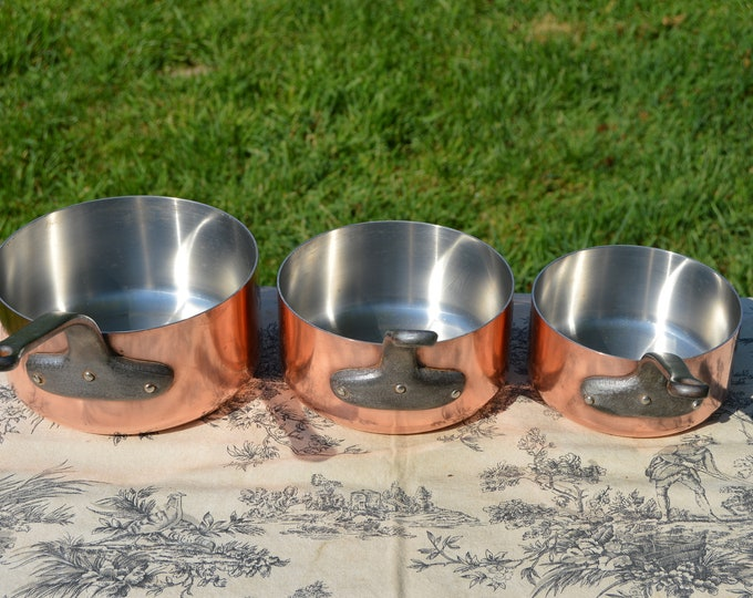 Copper Pans 3 1.6mm 1.7mm 1.8mm Bespoke Vintage French Set Three Graduated French Stainless Steel Fabulous Manufacture 14cm 16cm and 18cm