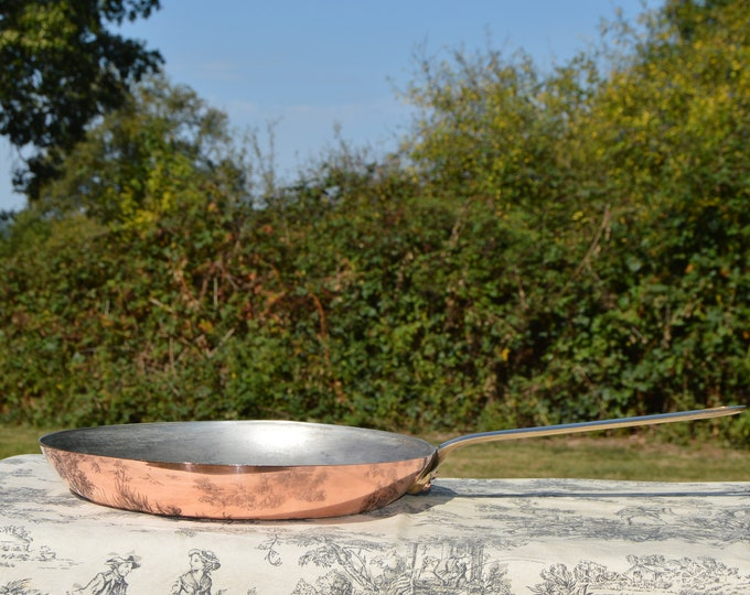 Copper Frying Pan 1.6mm Made in France Saute Skillet Pan Good TIn Made in France Vintage Copper Stamped Big Kitchen Pan 31cm 12.25""