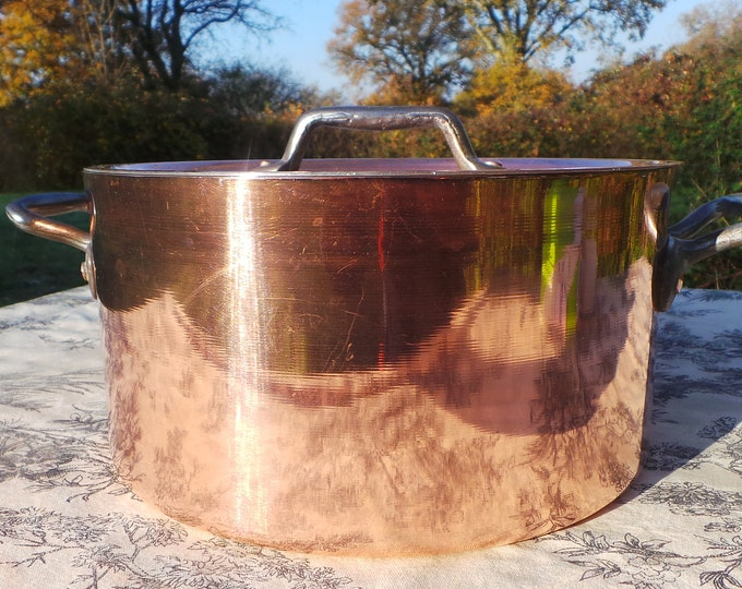 """Faitout Round Pot French Copper Casserole with Lid 1.6mm New Hand Wiped Tin Good Size 22.5cm 9"""" Super Condition Special Vintage Dutch Oven"""