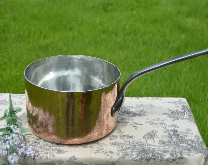 Antique E Dehillerin of Paris Massive Copper Pot 2.9MM BIG Hammered French Pan Refurbished Saucepan Iron Handle New Hand Wiped Villedieu Tin