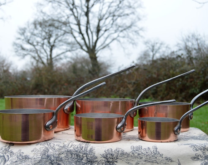 Vintage French 6 Copper Pans 1.3mm Six Graduated French Copper Pans Exceptional Pan Restaurant Quality Hammered Rivets Normandy Kitchen