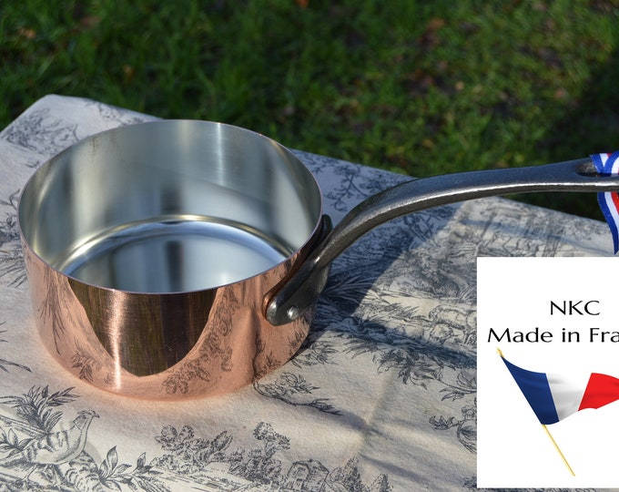 18cm New NKC Copper Pan Tin Lined Normandy Kitchen Copper Saucepan Iron Handles Steel Rivets Made in France Perfect 1mm 18cm 7 inch Pan