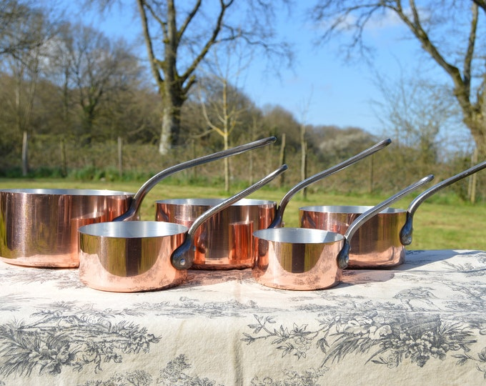 French Copper Pans Five Vintage Aluminium Lined Exceptional 1.8-2mm 4.6 Kilos 10lbs 4ozs Quality Aluminum Linings 10cm-18cm Smaller Set