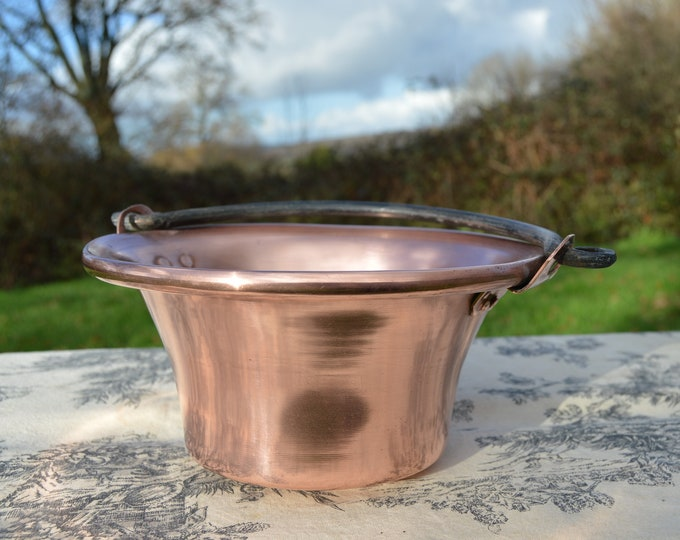 Jam Cauldron Jam Pan French Vintage Copper Apple Butter Jelly Preserves Cauldron Pot Normandy Kitchen Copper Chaudron Slightly Rounded Base
