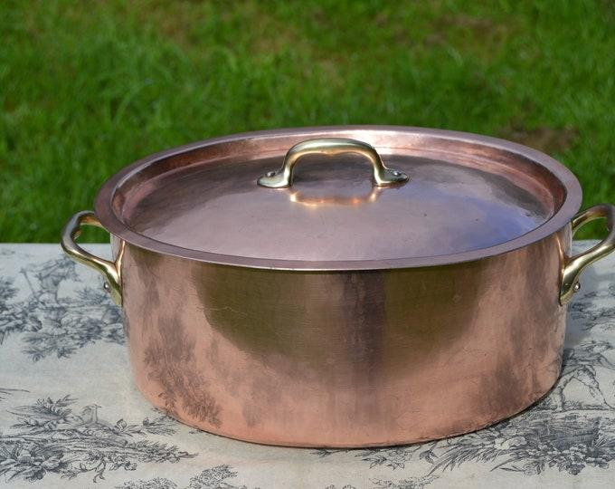 """Copper Pan Casserole 1.9mm France Made Oval Villedieu 30cm 11 3/4""""a Oval Marmite Faitout Casserole Cocotte a Poulet Ovale Large Dutch Oven"""