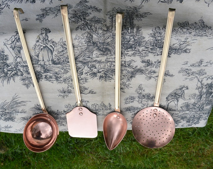 Kitchen Utensils Quality Vintage French 1mm Copper 3mm Bronze Hand Made Finished Good Set of Four Copper Kitchen Utensils Magnificent Set