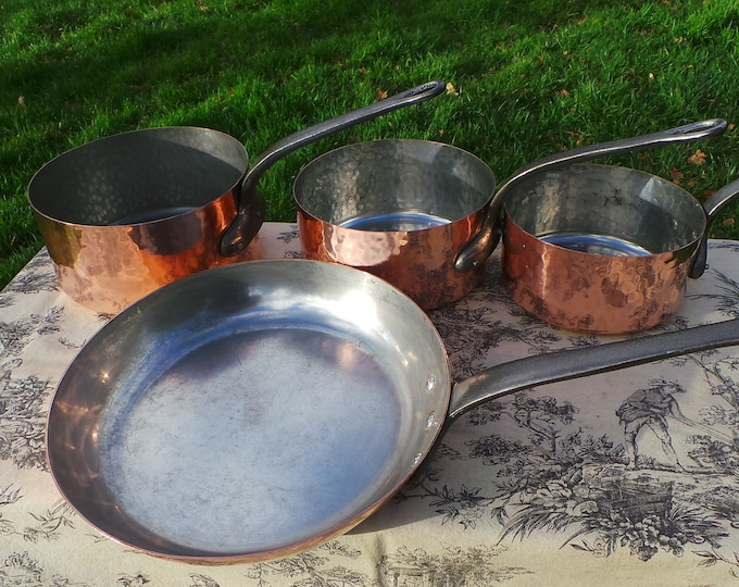 Copper Pans Cooks Matched Set of Three Pans and One Frying Saute Skillet Pan Good 1-1.4mm Copper Ideal Starter Set Good Factory Tin