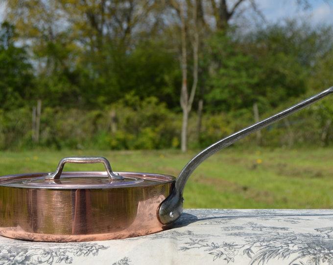 Vintage Les Cuivres de Faucogney Saute Pan with Lid Made in France Copper Pan 22cm Professional Saute Pan Cast Iron Handles
