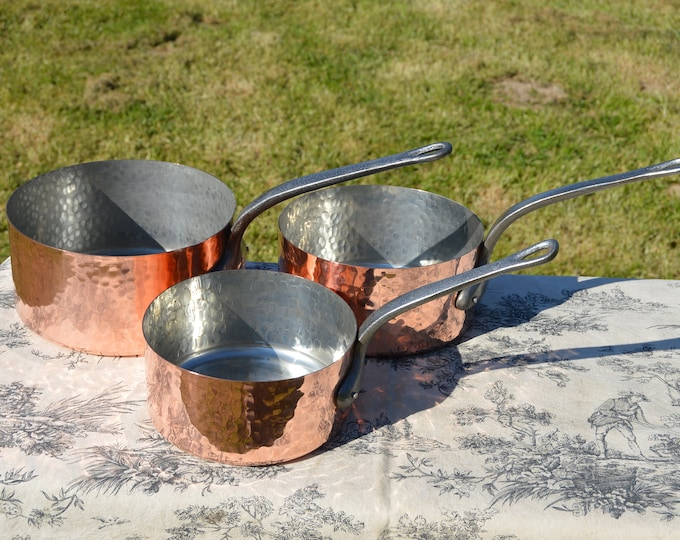 Copper Pans Cooks Set of Three Pans Good 1mm Hammered Copper Ideal Starter Set Good Factory Tin