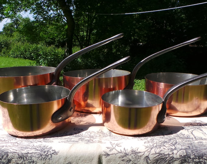 Copper Pans Vintage E France Fabrication Set of Five French Copper 1mm Graduated Pans Cast Iron Handles Good Normandy Kitchen