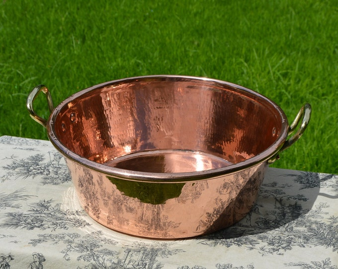 Vintage Copper Hammered Professional Jam Jelly Pan 42cm Rolled Top 3.77 kilos 8 lbs 5.1 oz Copper Cast Bronze Handles  Normandy Kitchen