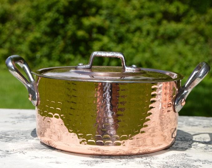 "French Copper Pan Copper Pot Dutch Oven Casserole Lid 2mm Faitout Round Pot 16cm 6 1/4""  Copper Kitchen Casserole New Hand Wiped Tin"