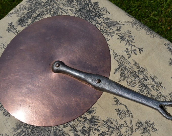 Antique French Copper Lid 25.3cm 10 inch Diameter rms 1lb 4oz Splash Lid with Copper Rivets Cast Iron Handle Good Domestic Lid 4184