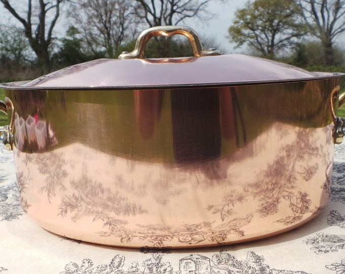 Vintage French Copper Clad Cast Bronze/Brass Casserole Dutch Oven Braiser Roasting Dish Beautiful Bronze Copper Clad Pan Normandy Kitchen