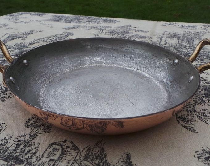 "Copper Gratin Pan French Vintage Copper Roasting Dish Round Oven 14.5cm 5.75"" Bronze Handles Villedieu Small Gratin"