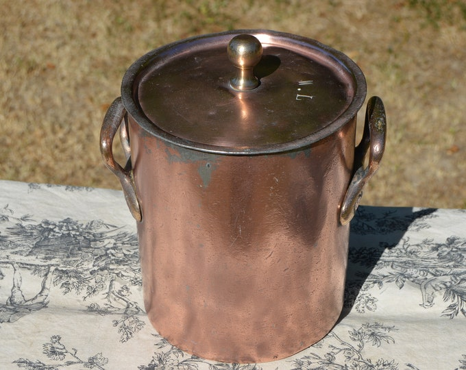 Wagons-Lits French Copper Soup Pot Antique Copper Bain Marie de Potage Refurbished Kitchen Copper Pan Quality Very, Very Well Used