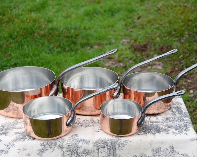 Copper Pans Vintage E France Fabrication Francaise Set of Five French Copper 1mm Graduated Pans Cast Iron Handles Good Normandy Kitchen