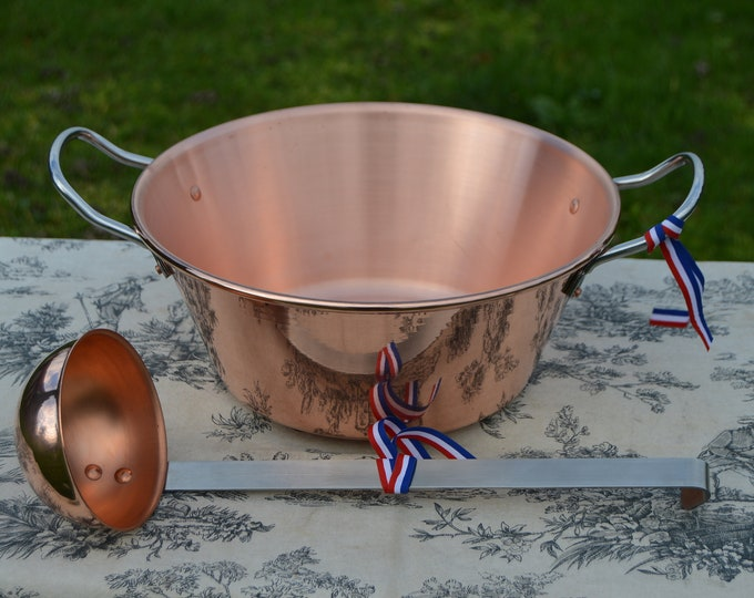 "New NKC 28cm Copper Jam Pan + Ladle from Normandy Kitchen Copper Jam Jelly Pan 11"" Rolled Top Stainless Steel Handles New Normandy Kitchen"