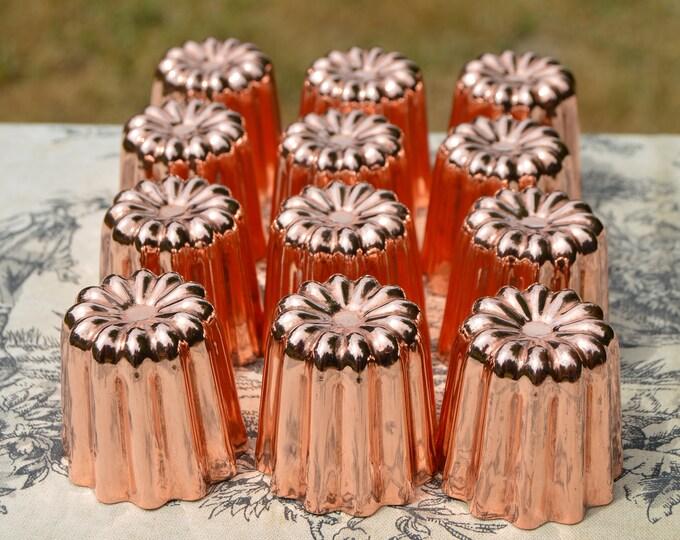 """12 Twelve Copper Canelés NKC Medium 4.5 cm 1 3/4"""" Canelés Made in Bordeaux France Bordelais Cake Molds Normandy Kitchen Canelle Canneles"""