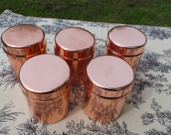 Five Vintage Copper Clad Canister Container with Snug Lids and Good Clean Interiors - Great for Coffee, Tea and Sugar - Tea Caddy - and More