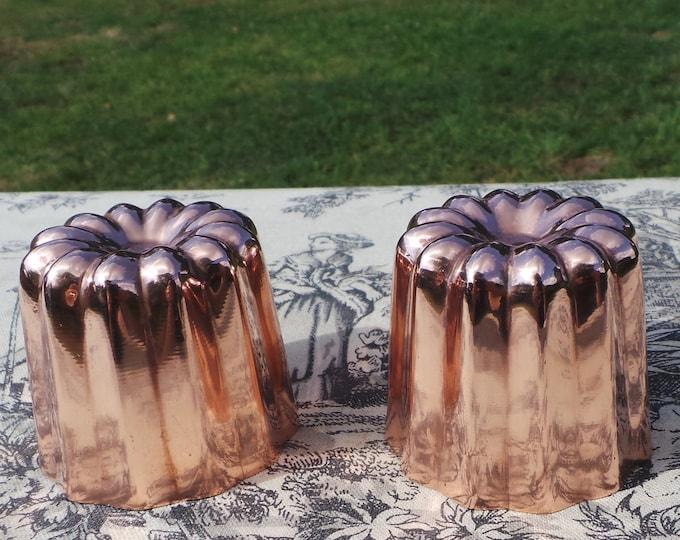 Two Copper Molds Bordeaux Moules A Cannelle Cinnamon Bun Mould Vintage E France Manufacture Bordelaise Cake Moulds Jelly Mould Jello Mold